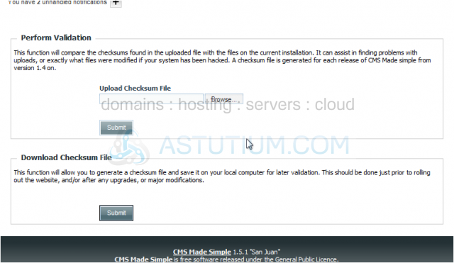 How to download and upload checksum file in CMS Made Simple