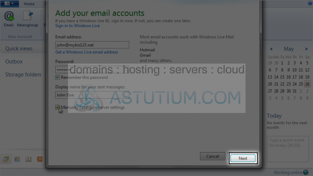 Configuring a POP email account with SSL in Windows Live Mail