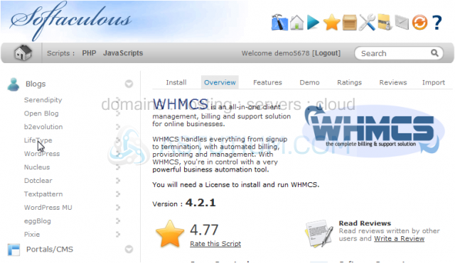 How to install WHMCS from Softaculous
