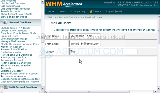 How to e-mail all users in WHM