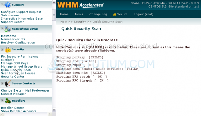 How to run security scans in WHM