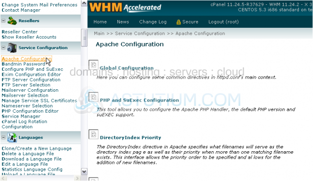 How to configure Apache web server in WHM